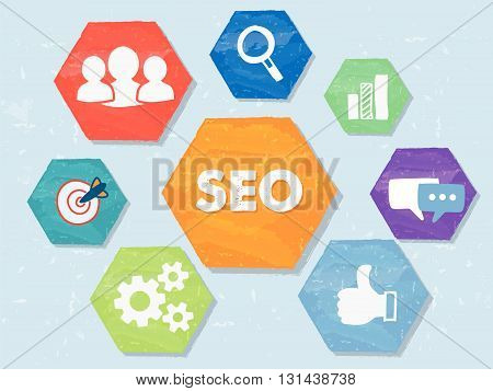 SEO and internet signs - white symbols in colorful grunge flat design hexagons, business technology concept icons, vector