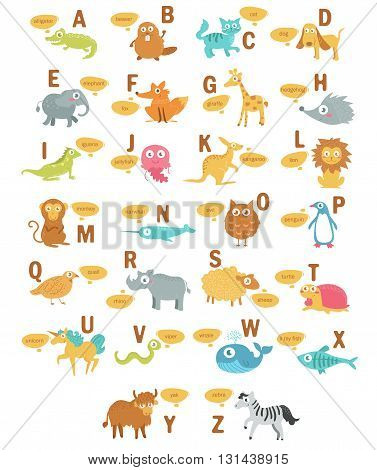 Children's alphabet with animals. Illustration in doodle style. Vector isolated. Hand drawn