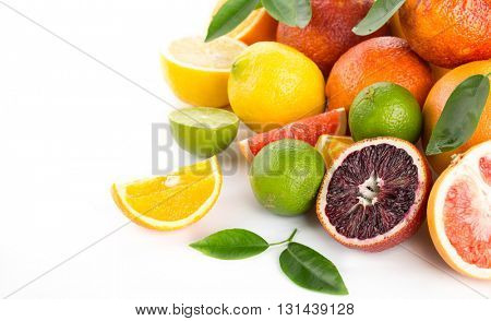 citrus fruit isolated on white background