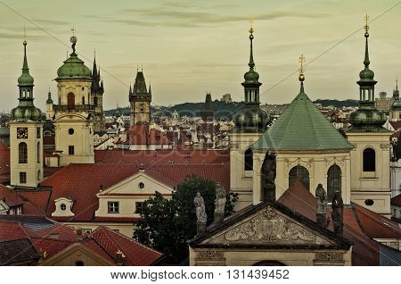 Scenic Aerial View Of The Old Town Architecture In Prague, Czech Republic