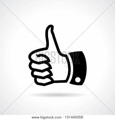 Thumb up like icon isolated on white background