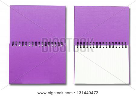 Purple Cover Note Book On White Color Background