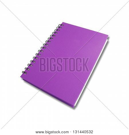 Purple note book on white color background