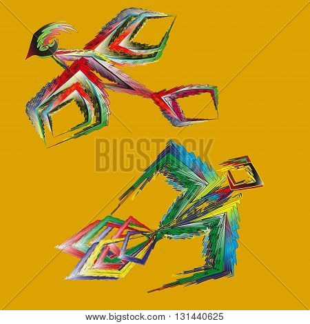 Drawing two birds primitive Illustration of two birds flying bright primitive style on a yellow background for decoration and design