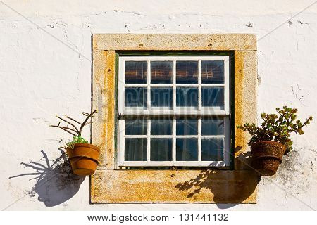 Window of Portuguese Home Decorated with Flower