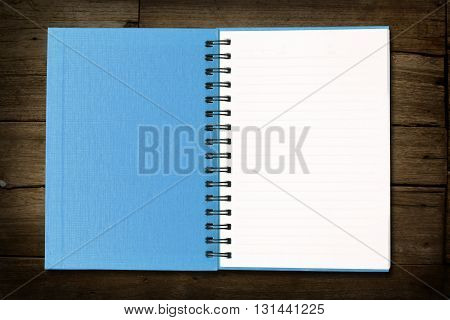 Blue note book on white color background