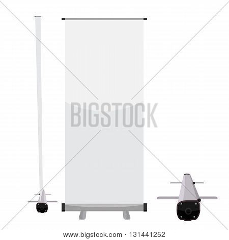 Vector Blank roll up banner for your display mockup template with solid flat color design isolated on solid background. Rollup with front and side view