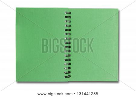 Green covor note book on white color background