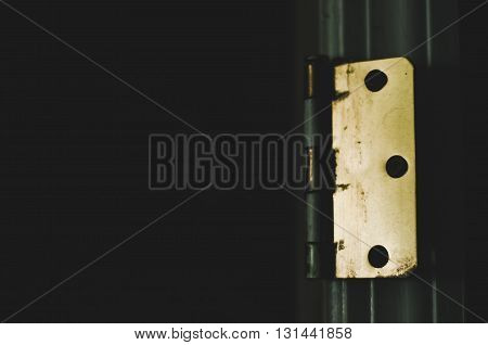 Metallic Door hinge. Empty space for text.