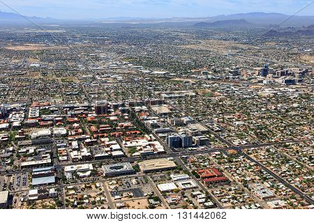Aerial view of Arizona campus looking to the southwest at downtown Tucson and interstates 10 & 19