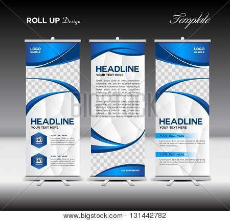 blue Roll Up Banner template vector illustration banner design standy template roll up displayadvertisementbusiness templatepolygon background