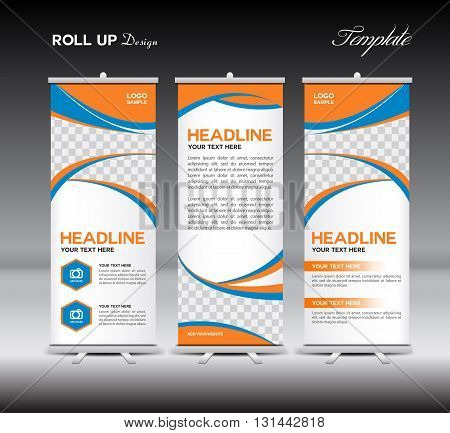 Orange and blue Roll Up Banner template vector illustration banner design standy template roll up displayadvertisementbusiness templatepolygon background