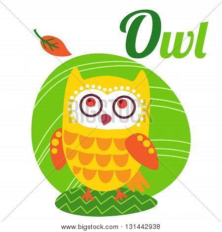 Cute animal alphabet for ABC book. Vector illustration of cartoon owl. O letter for the Owl