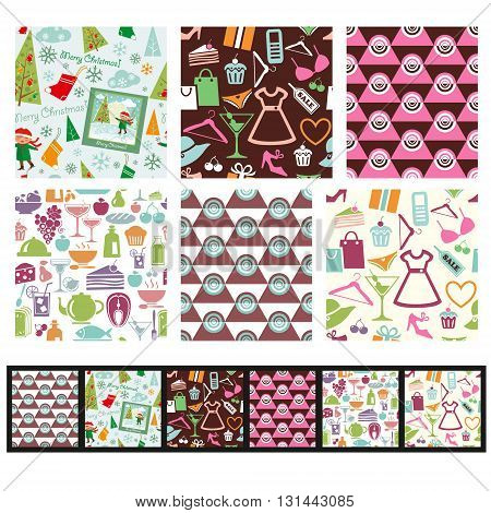 Set of shopping Christmas food and abstract seamless patterns. Use as fills for digital paper scrap booking projects or print onto fabric for unique home furnishings.