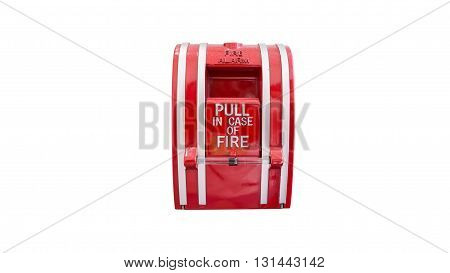 Red Fire alarm switch on white background