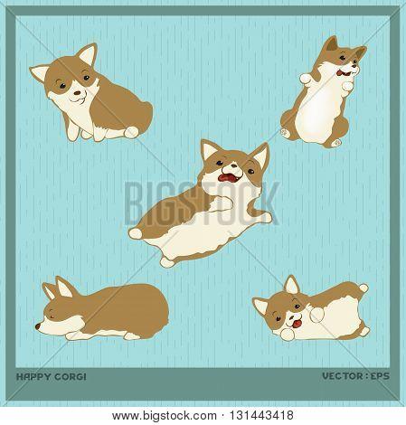 Vector illustration Cute Happy Corgi cartoon style