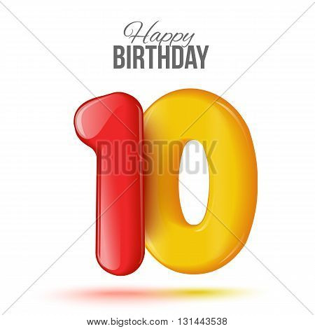 Bulk red number ten, isolated illustration of figures on a white background, invitation card for birthday with the number 10, seventh birthday greeting, a simple greeting card for 10th birthday