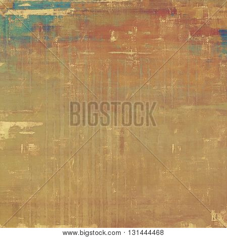 Weathered grunge elements on vintage texture for your design. Aged background with different color patterns: yellow (beige); brown; gray; blue; red (orange); pink