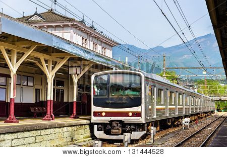 Local train at Nikko train station - Japan, Tochigi Prefecture