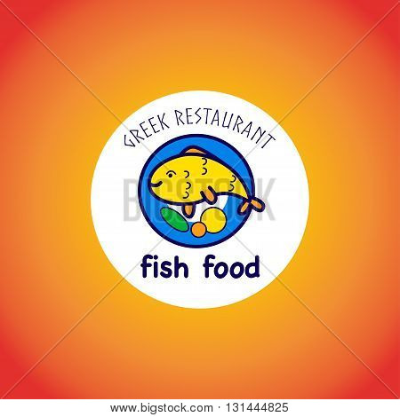 Vector animal logo isolated on gradient background. Simple flat fish icon. Greek food restaurant logo.