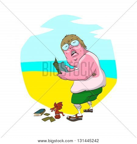 Colorful vector illustration of a cartoon fat nerd on the beach with uneven tan glasses socks and sandals. Holding a magazine and having collectable cards figure and a fantasy book.