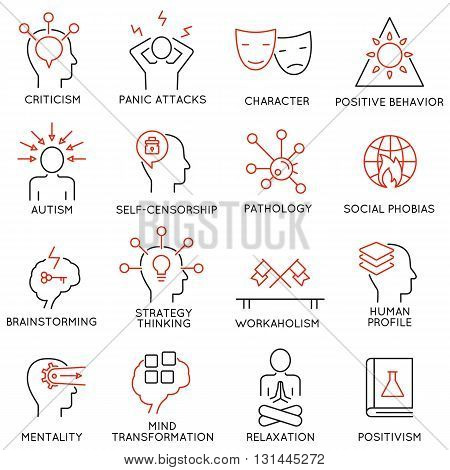 Vector set of 16 modern thin line icons related to mental features of human brain process mental disorders. Simple Mono line pictograms and infographics design elements and symbols - part 2