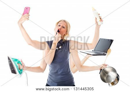 Woman in a multitasking mode. Isolated, white background. Concept of modern woman who plays multiple roles at the same time: manager, housewife, mother, fashion female.