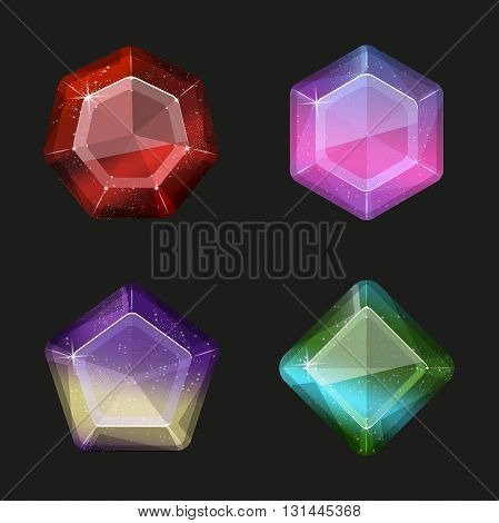 Shiny gems and diamonds icons set in different colors space. Vector illustration