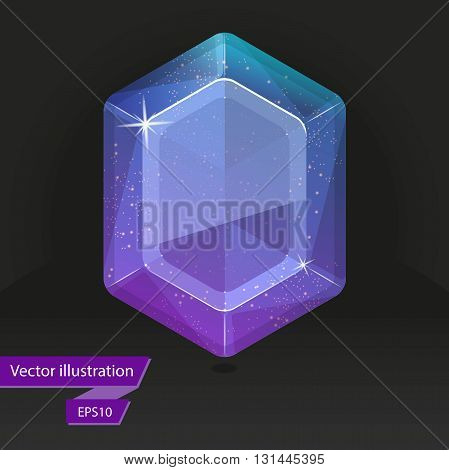 Shiny colored gem isolated on black background. Vector illustration