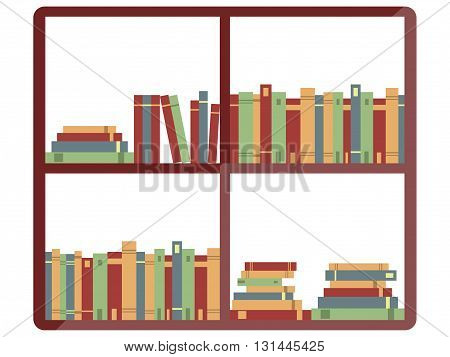 Shelf with books bookstore books on a shelves in library flat booksVector.