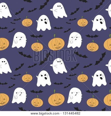 Vector seamless pattern for Halloween. Pumpkin, ghost, bat