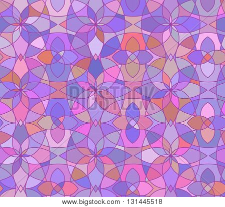 Seamless pattern with stained glass ornament in violet colors. Colorful kaleidoscope background. Vector illustration