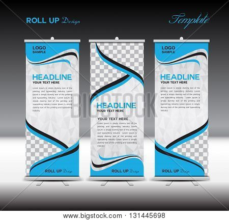 Blue Roll Up Banner template vector illustrationpolygon background banner design standy template roll up display advertisement