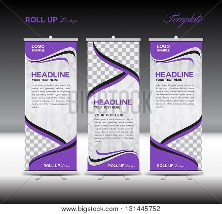 Purple Roll Up Banner template vector illustration polygon background banner design standy template roll up display advertisement