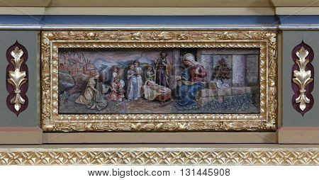 STITAR, CROATIA - AUGUST 27: Nativity Scene, altarpiece on the altar of Our Lady in the church of Saint Matthew in Stitar, Croatia on August 27, 2015