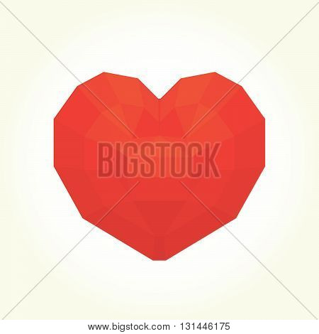 Diamond heart graphic isolated vector on white