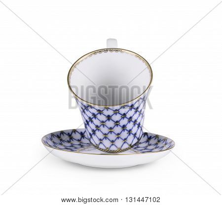 The ancient tea cup elegant gold border floral hand-drawn.