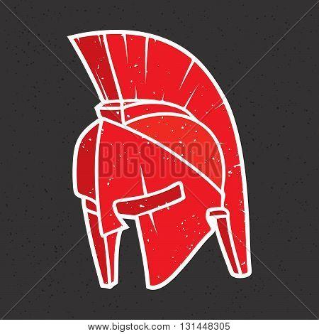 Spartan stye warrior helmet isolated vector illustration