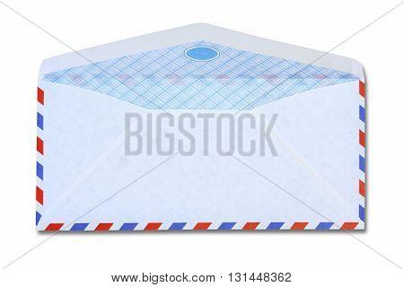 White vintage envelope on white color background