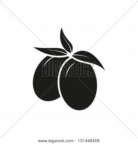 Simple black Two Olives vector illustration isolated on white background. Elements for company print products page and web decor. Vector illustration.