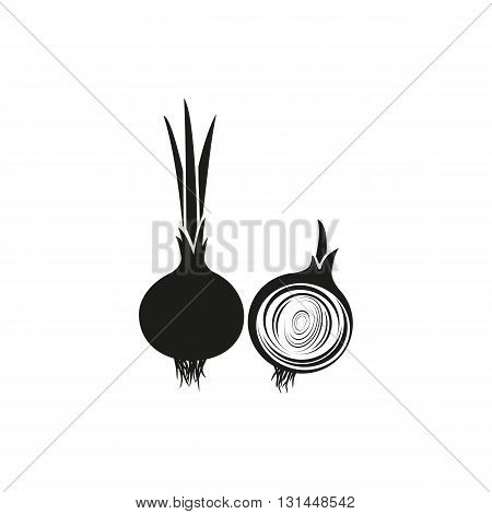 Simple black Onion vector illustration isolated on white background. Elements for company print products page and web decor. Vector illustration.