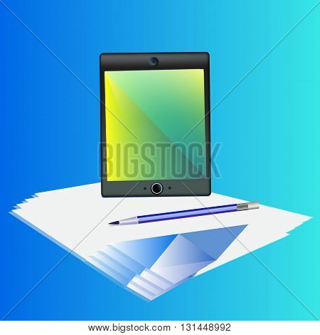 Business set with computer pencil and paper. Vector illustration in blue shades.