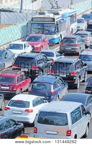Cars stand in traffic jam in the center of Moscow, Russia