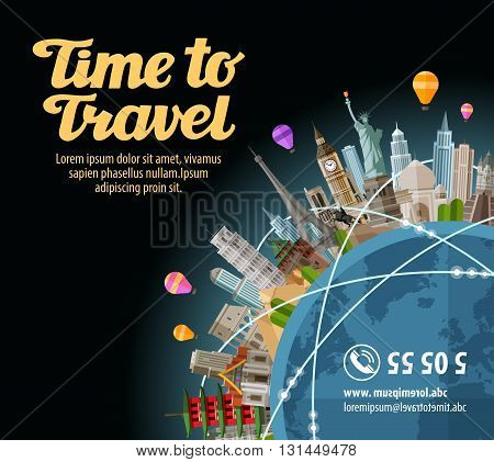 Trip to world. Landmarks on the globe. Journey, travel. Vector illustration
