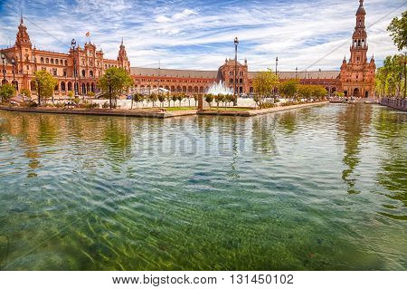Pond of the famous Square of Spain, in Spanish Plaza de Espana,  Seville, Andalucia, Spain.