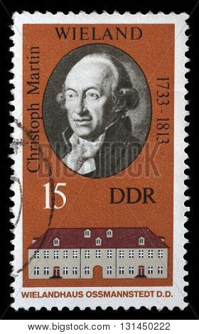 ZAGREB, CROATIA - SEPTEMBER 09: A stamp printed in the DDR (East Germany) shows Christoph Martin Wielandand and his house in Ossmannstedt, circa 1970, on September 09, 2014, Zagreb, Croatia