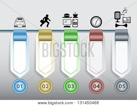 Infographics step by step template with icons, arrows, blank banners and buttons. 3d colorful template with clock, man, computer, book, notes, burger, coffee and speaker