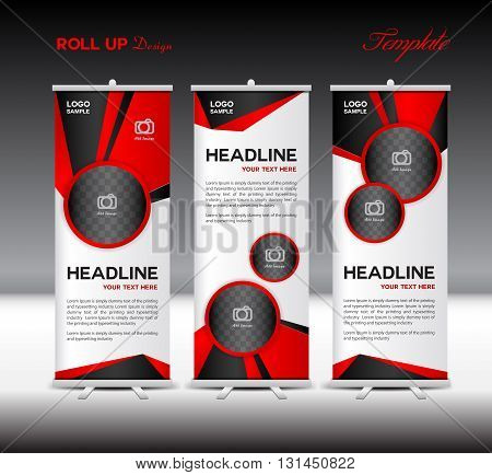 Red Roll Up Banner template vector illustration banner design standy template roll up display polygon background