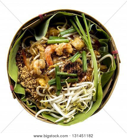 Thai style noodles or padthai isolate on white background Delicious food on the banana lea