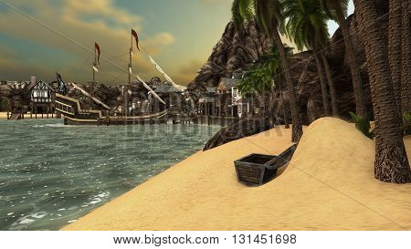 Pirates Cove, Treasure on a Beach 3D Render